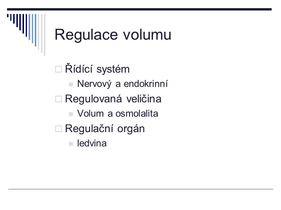 Regulace volumu Řídící systém Regulovaná veličina Regulační orgán