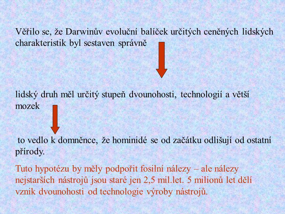 Věřilo se, že Darwinův evoluční balíček určitých ceněných lidských charakteristik byl sestaven správně