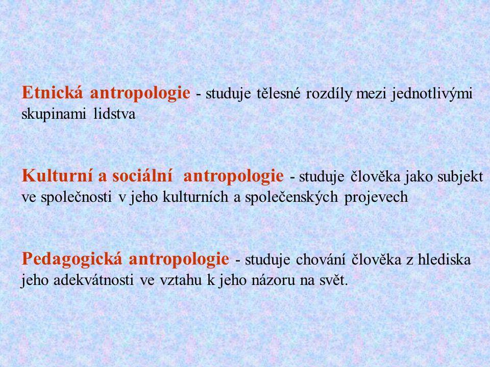 Etnická antropologie - studuje tělesné rozdíly mezi jednotlivými skupinami lidstva