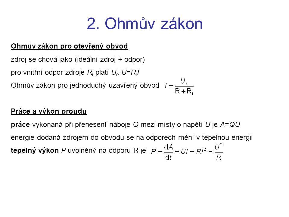 2. Ohmův zákon Ohmův zákon pro otevřený obvod
