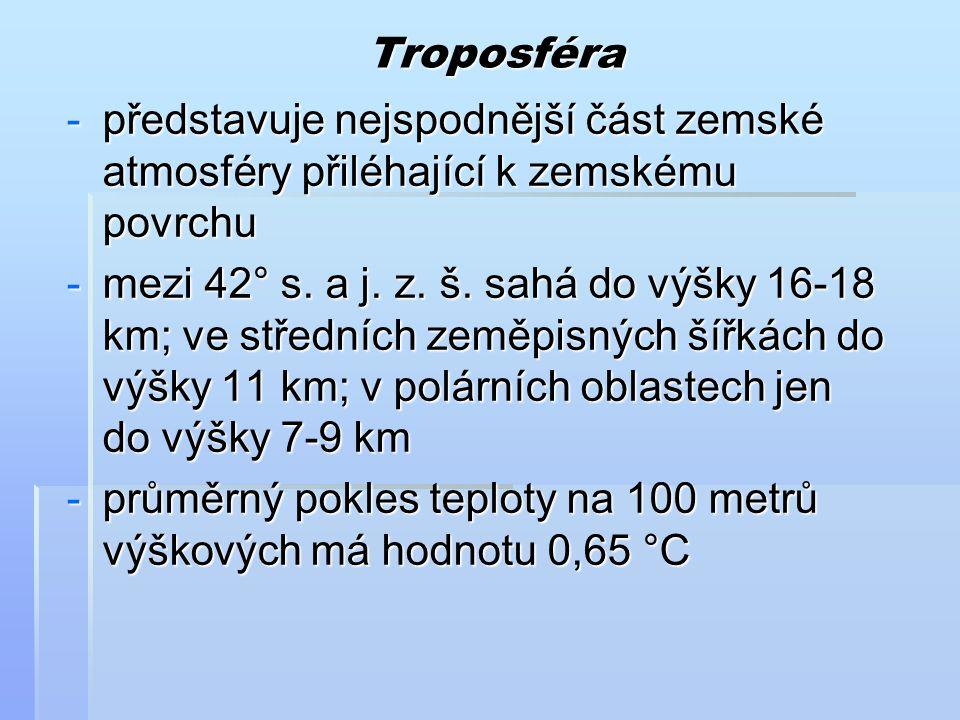 Troposféra představuje nejspodnější část zemské atmosféry přiléhající k zemskému povrchu.