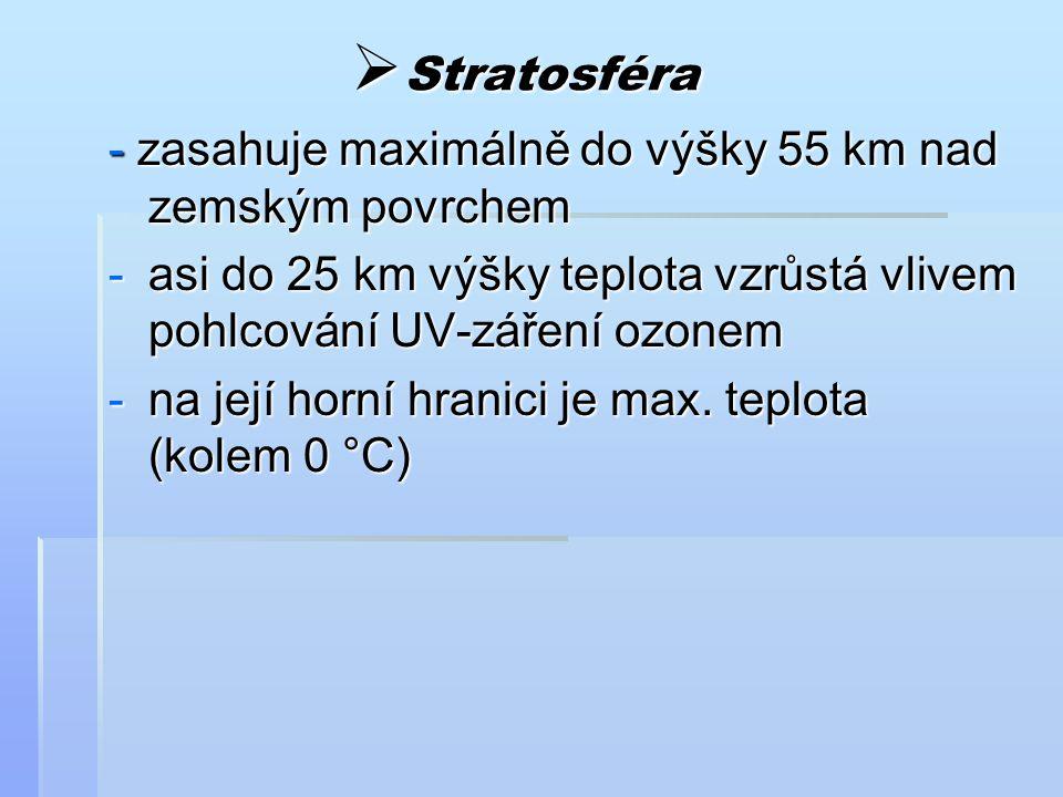 Stratosféra - zasahuje maximálně do výšky 55 km nad zemským povrchem