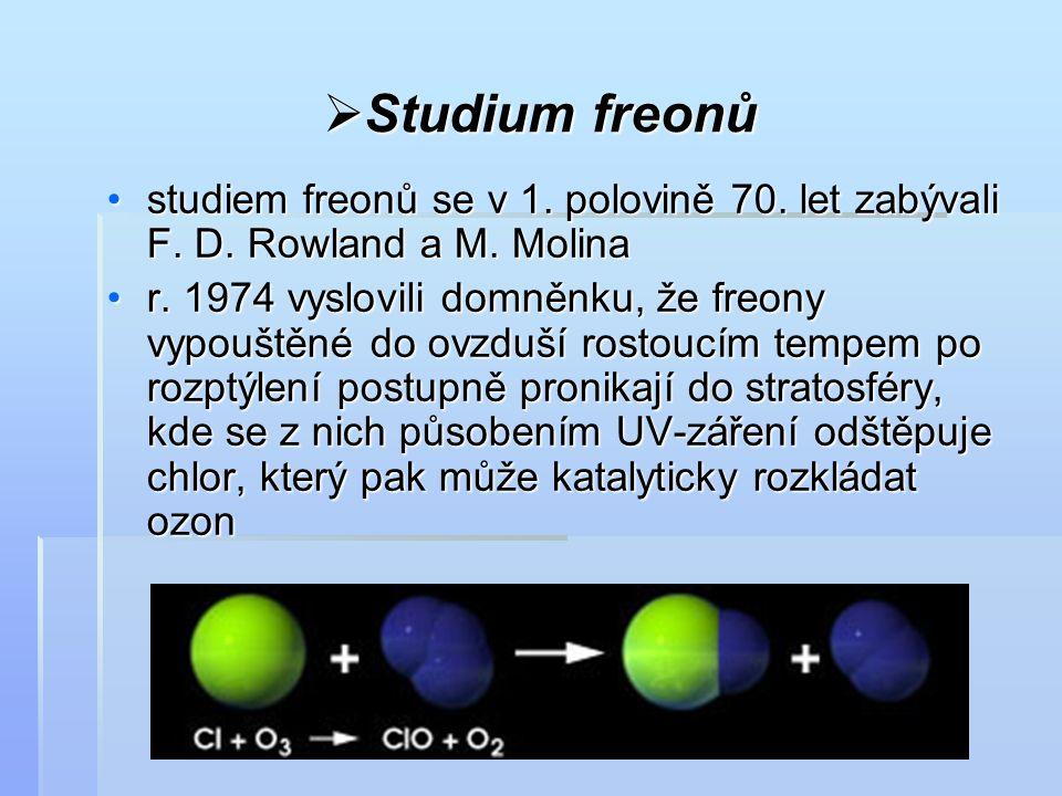 Studium freonů studiem freonů se v 1. polovině 70. let zabývali F. D. Rowland a M. Molina.