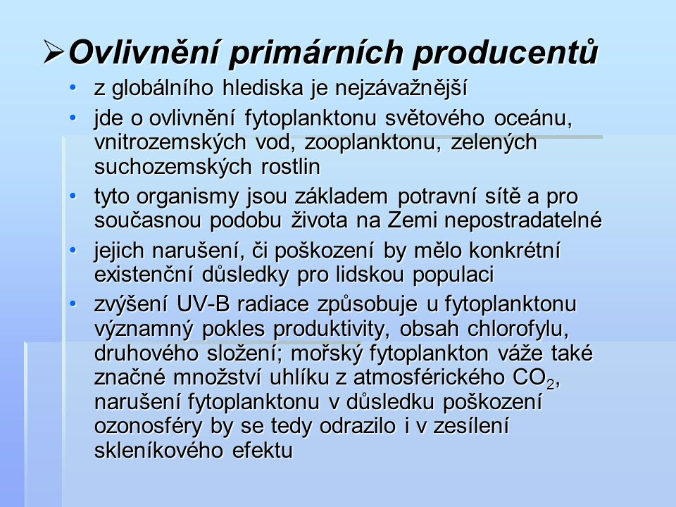 Ovlivnění primárních producentů