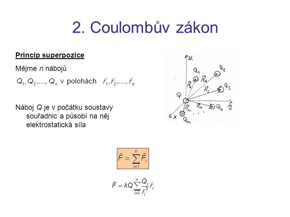 2. Coulombův zákon Princip superpozice Mějme n nábojů