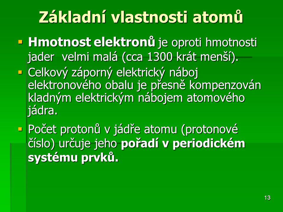 Základní vlastnosti atomů