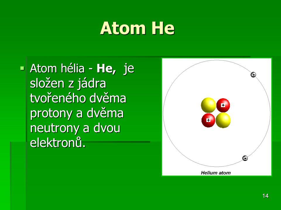 Atom He Atom hélia - He, je složen z jádra tvořeného dvěma protony a dvěma neutrony a dvou elektronů.