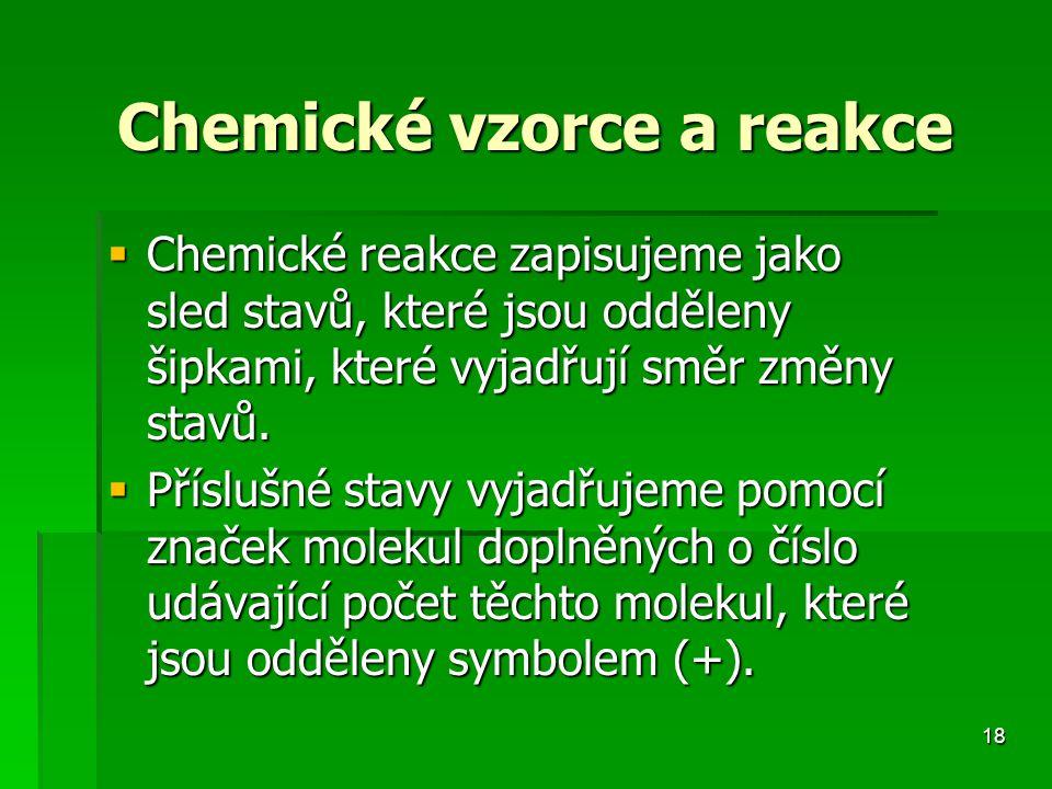 Chemické vzorce a reakce