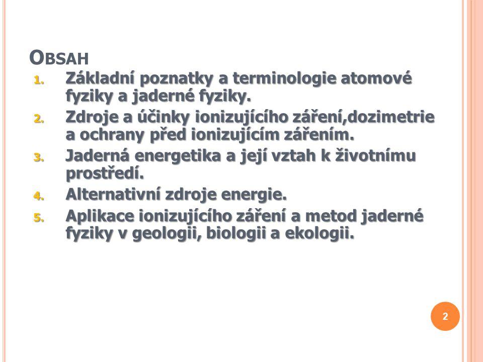 Obsah Základní poznatky a terminologie atomové fyziky a jaderné fyziky.