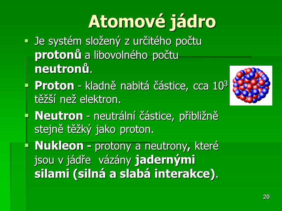 Proton - kladně nabitá částice, cca 103 těžší než elektron.