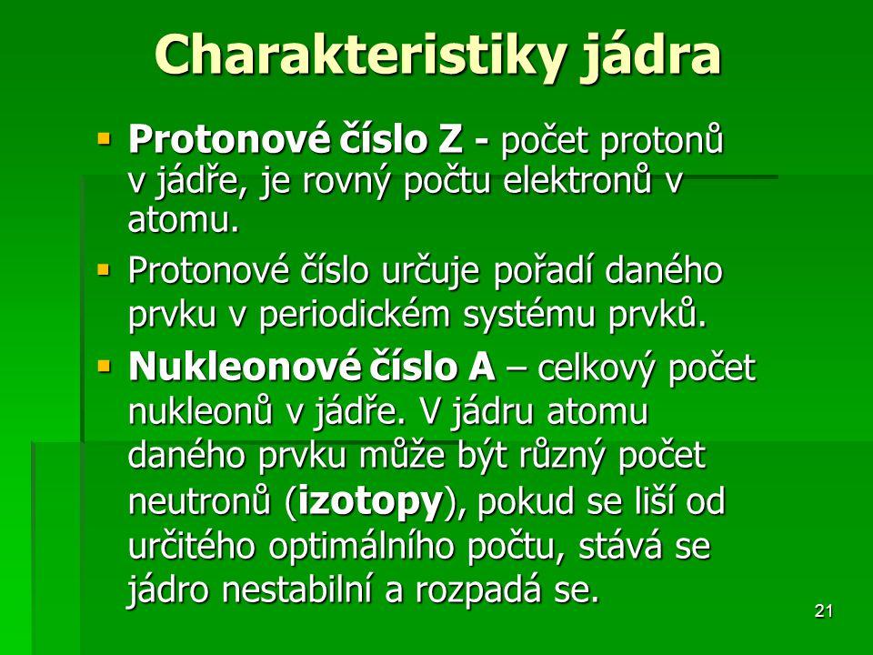 Charakteristiky jádra