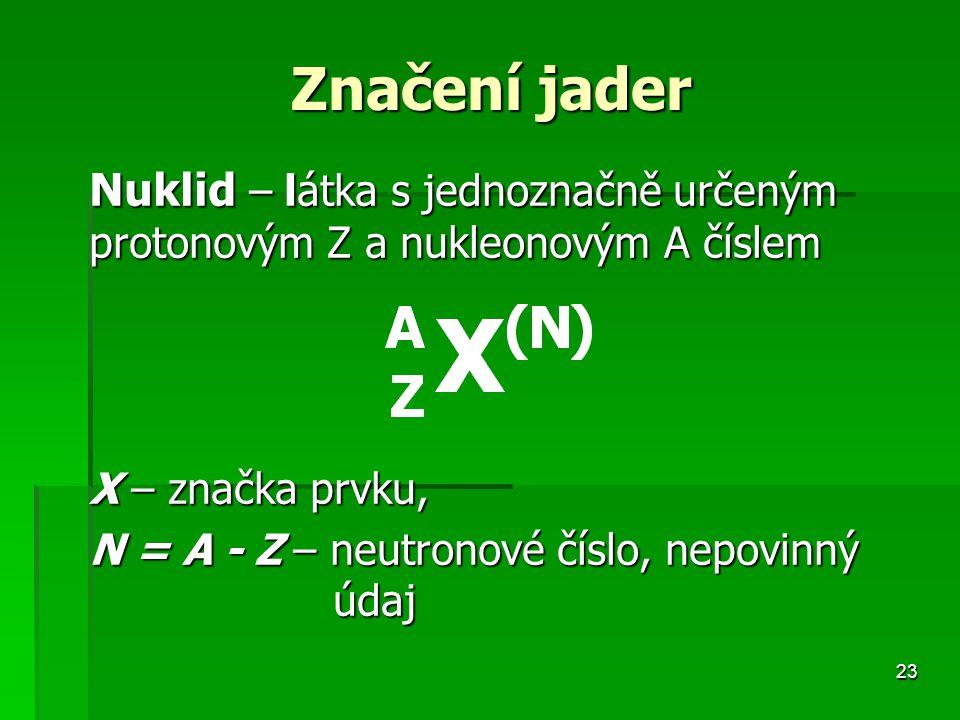 Značení jader Nuklid – látka s jednoznačně určeným protonovým Z a nukleonovým A číslem. X – značka prvku,