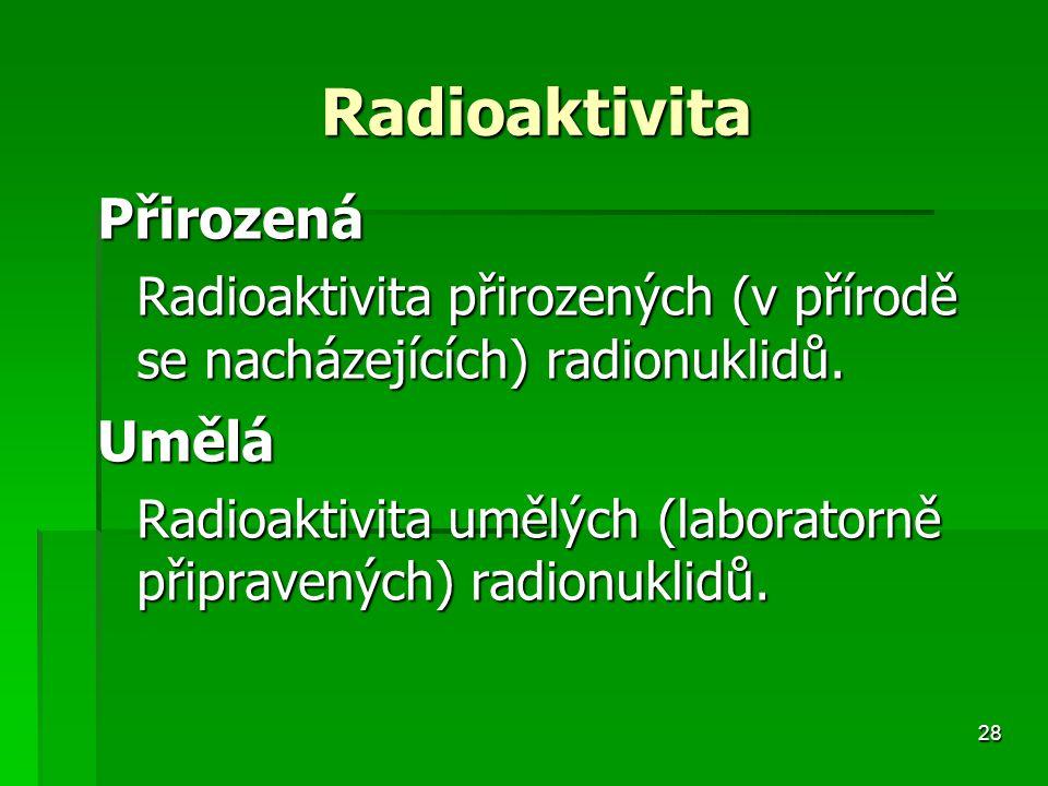 Radioaktivita Přirozená. Radioaktivita přirozených (v přírodě se nacházejících) radionuklidů. Umělá.