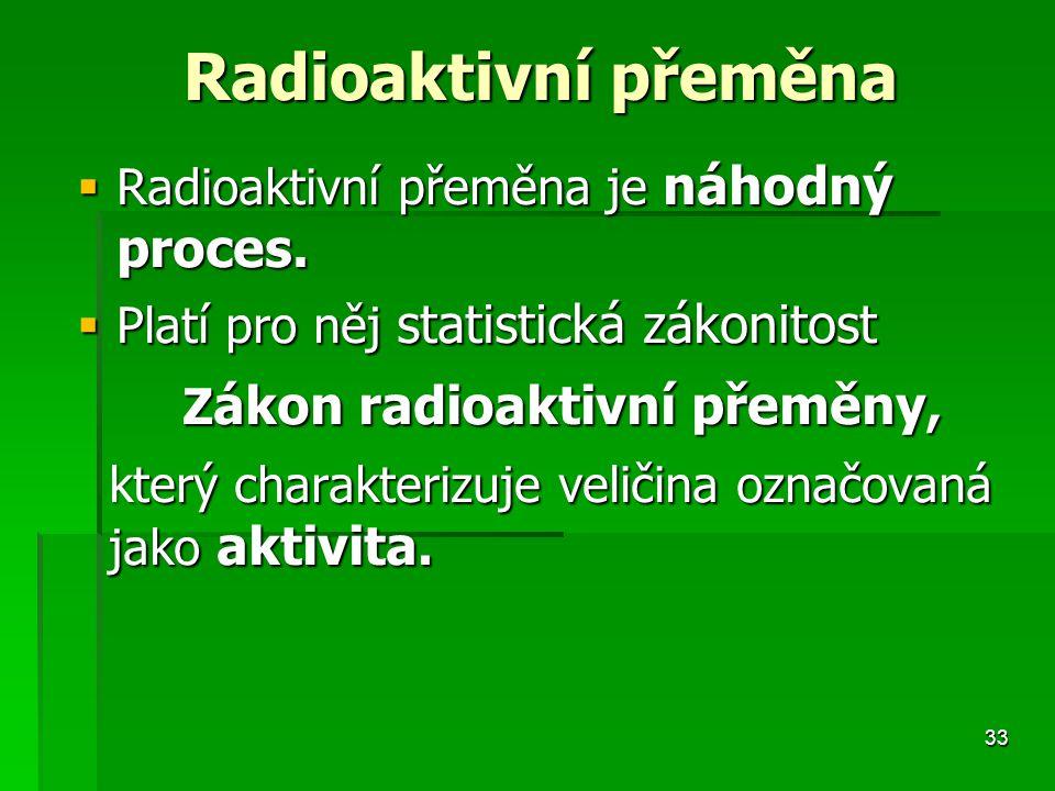 Radioaktivní přeměna je náhodný proces.