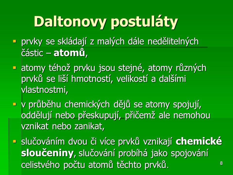 prvky se skládají z malých dále nedělitelných částic – atomů,
