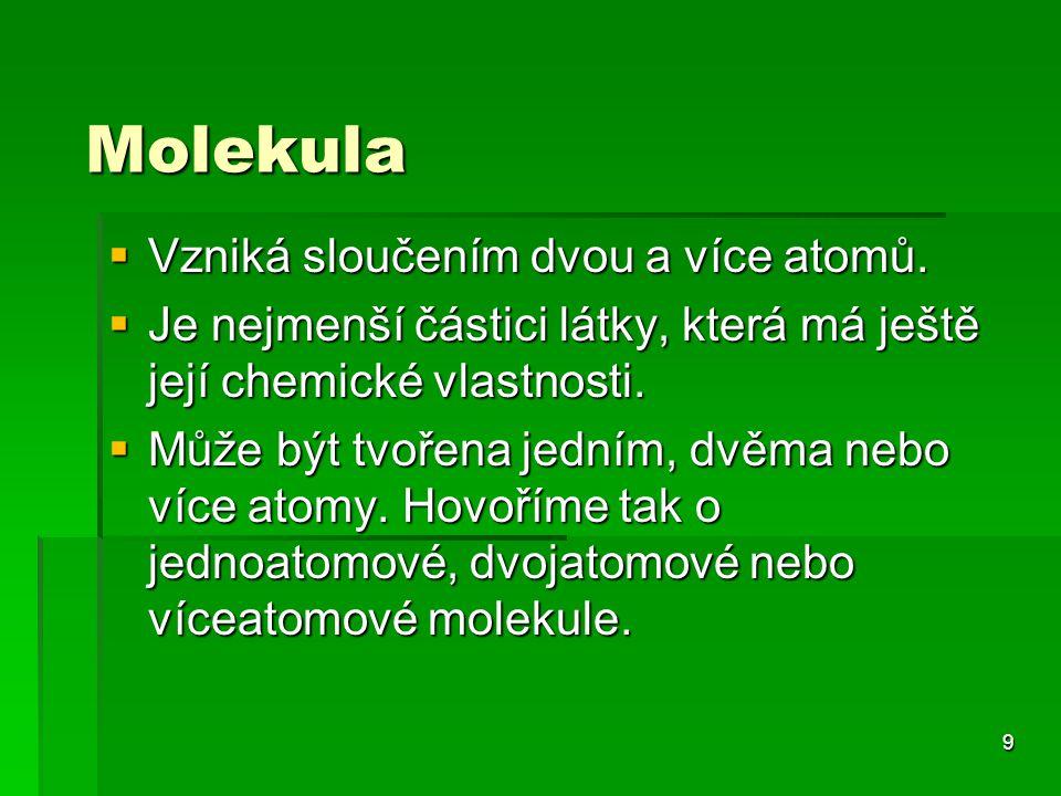 Molekula Vzniká sloučením dvou a více atomů.