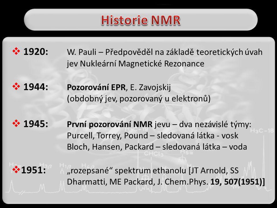 Historie NMR 1920: W. Pauli – Předpověděl na základě teoretických úvah jev Nukleární Magnetické Rezonance.