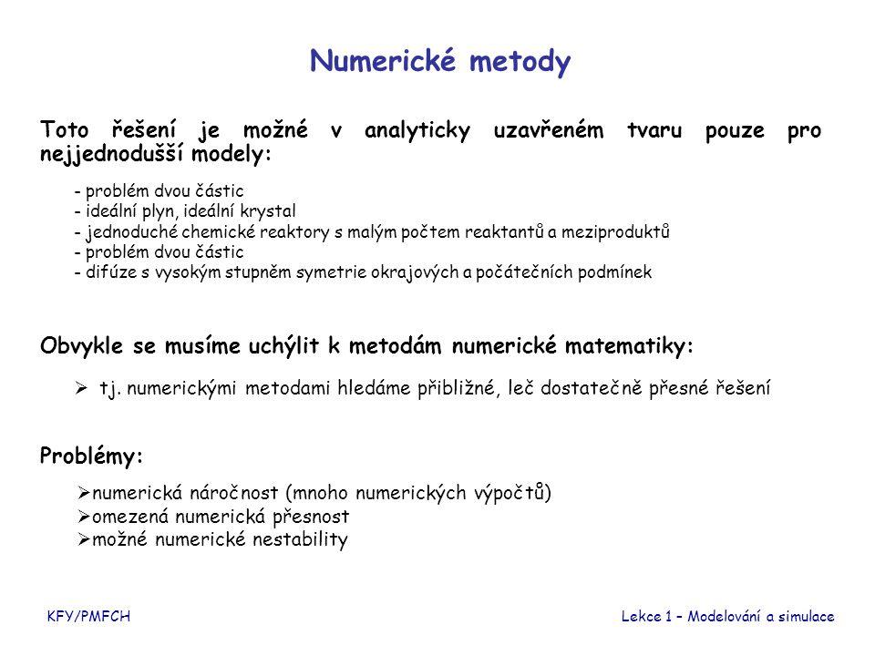 Numerické metody Toto řešení je možné v analyticky uzavřeném tvaru pouze pro nejjednodušší modely: