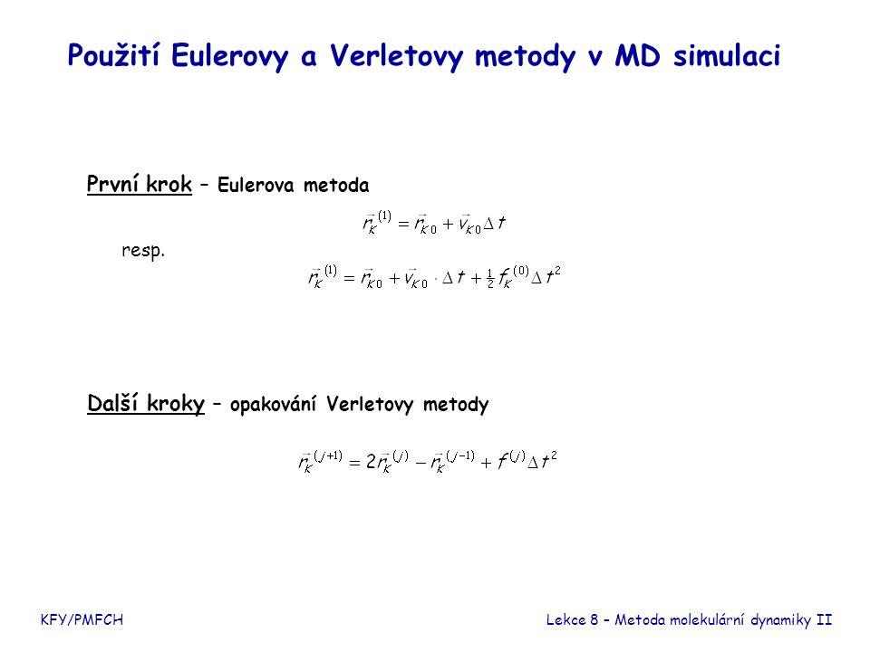 Použití Eulerovy a Verletovy metody v MD simulaci