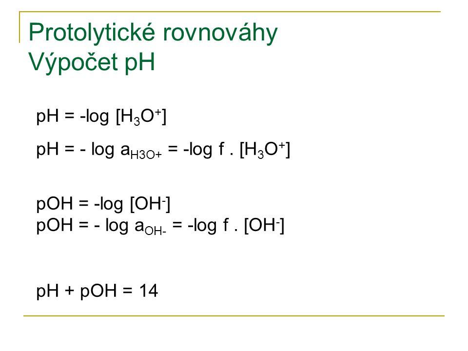 Protolytické rovnováhy Výpočet pH