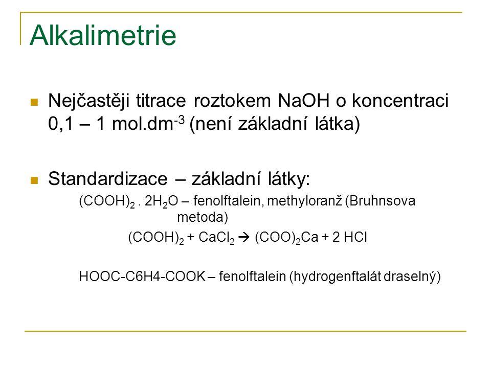 Alkalimetrie Nejčastěji titrace roztokem NaOH o koncentraci 0,1 – 1 mol.dm-3 (není základní látka) Standardizace – základní látky: