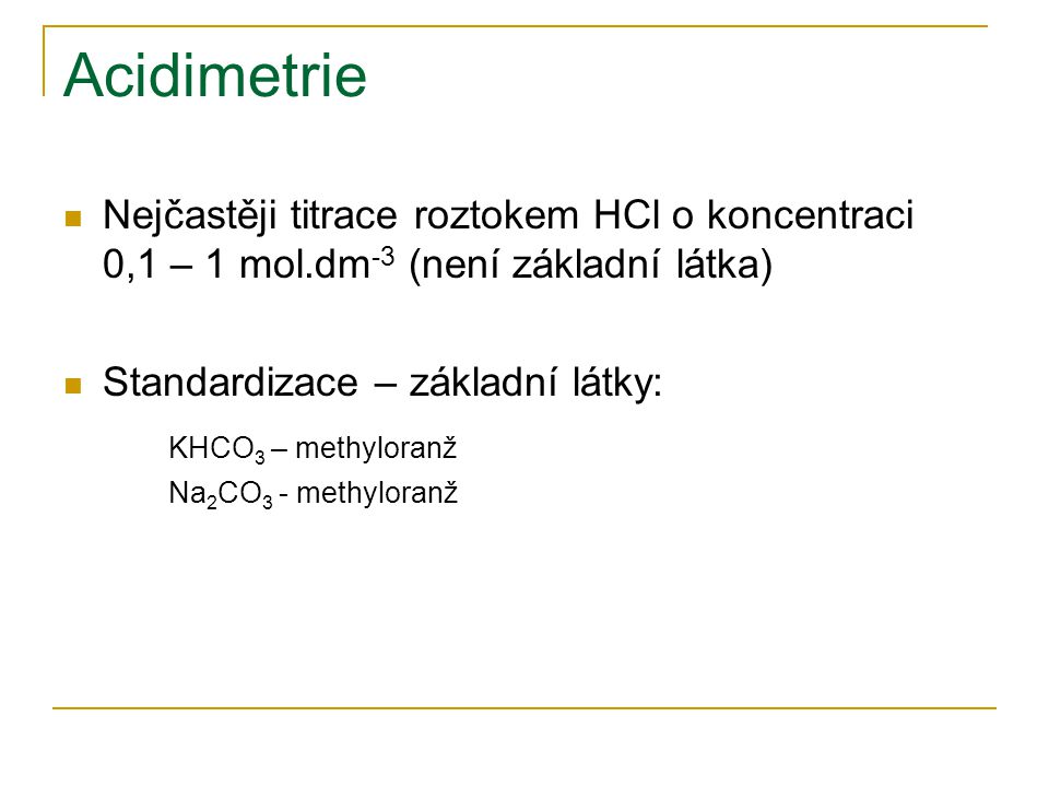 Acidimetrie KHCO3 – methyloranž