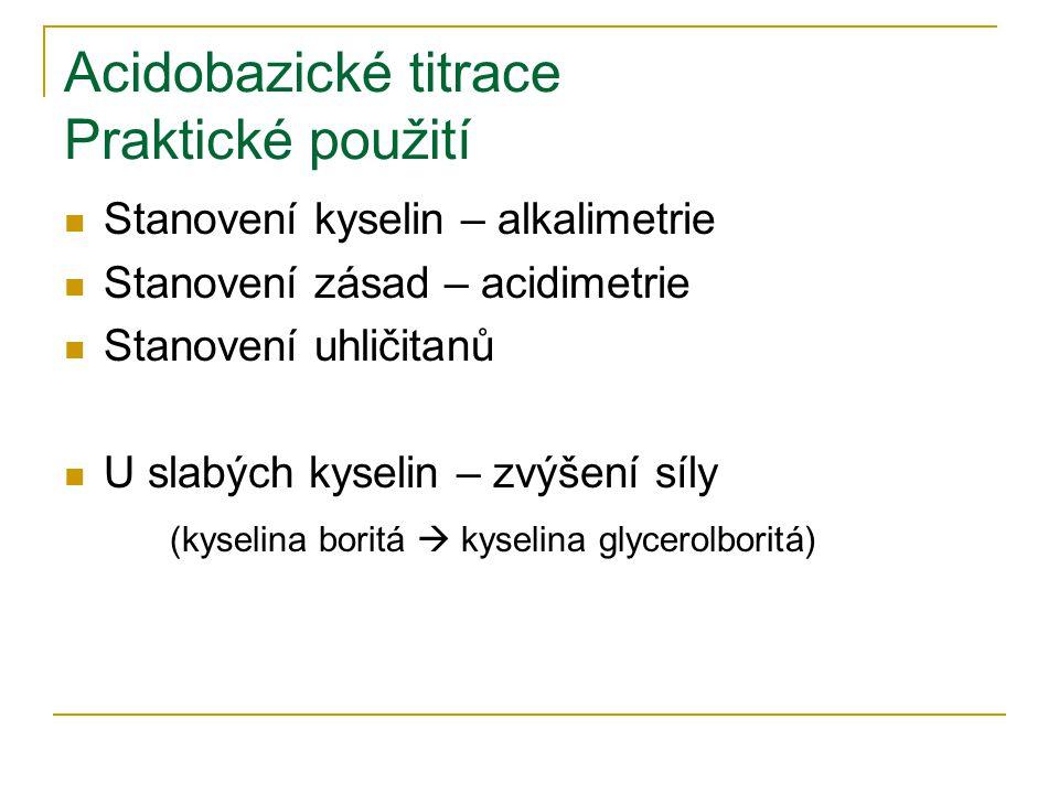 Acidobazické titrace Praktické použití