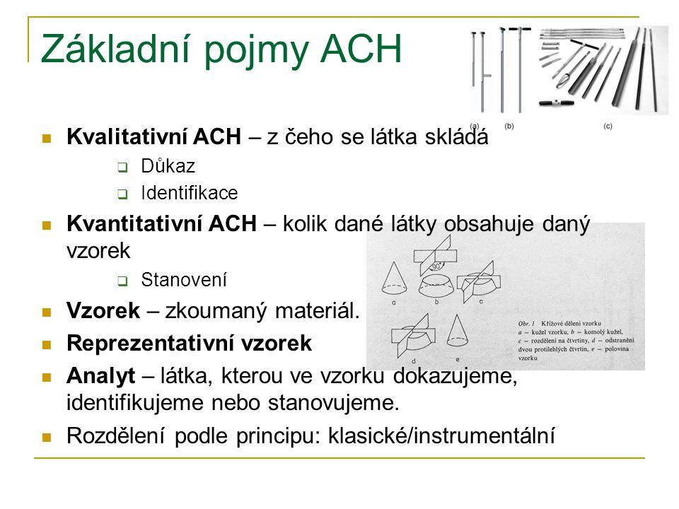 Základní pojmy ACH Kvalitativní ACH – z čeho se látka skládá