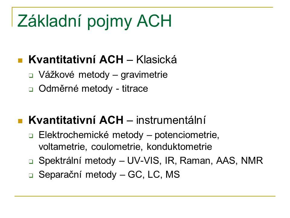 Základní pojmy ACH Kvantitativní ACH – Klasická