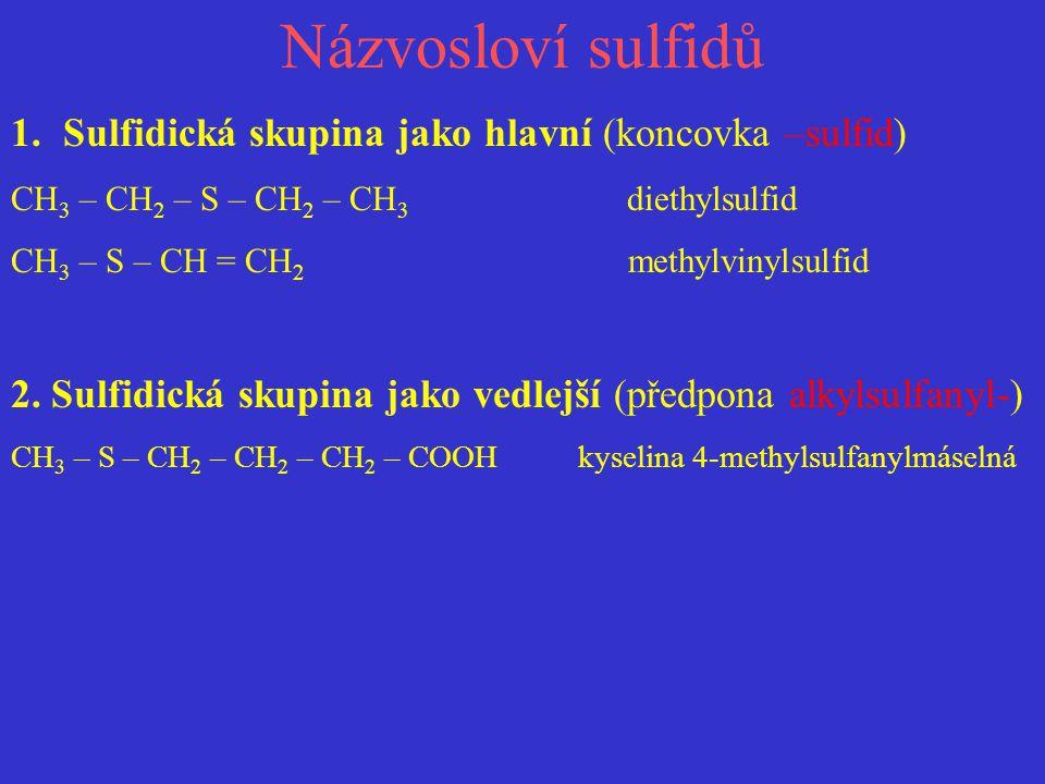 Názvosloví sulfidů Sulfidická skupina jako hlavní (koncovka –sulfid)
