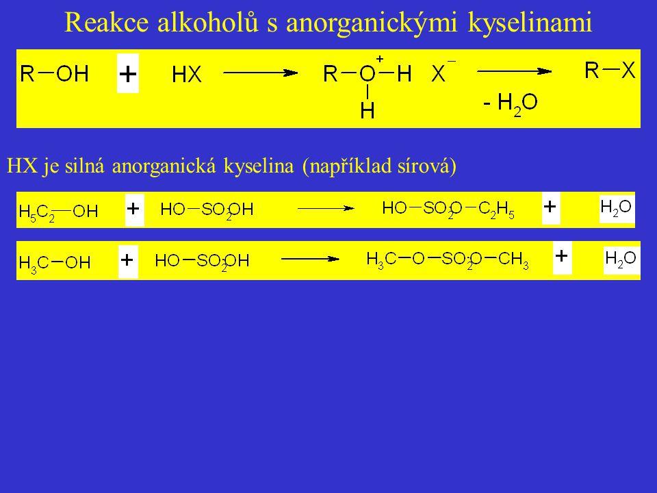 Reakce alkoholů s anorganickými kyselinami