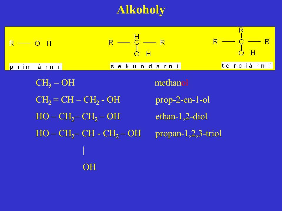 Alkoholy CH3 – OH methanol CH2 = CH – CH2 - OH prop-2-en-1-ol
