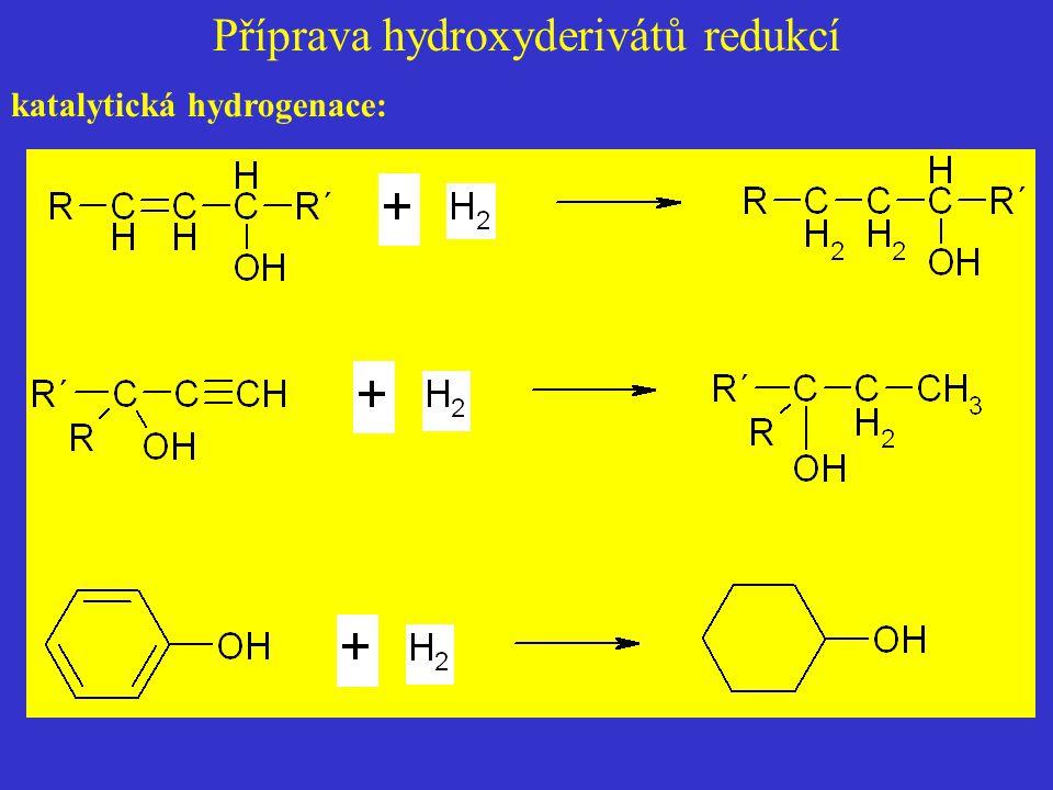 Příprava hydroxyderivátů redukcí