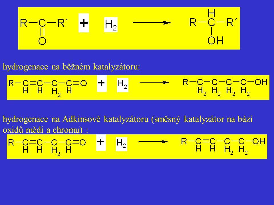 hydrogenace na běžném katalyzátoru: