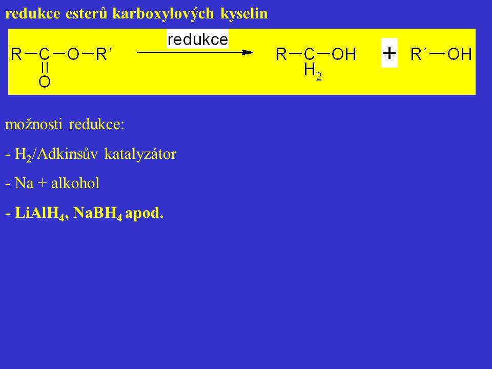 redukce esterů karboxylových kyselin