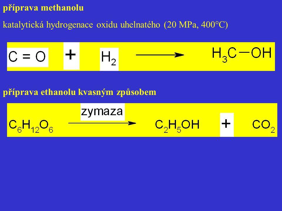 příprava methanolu katalytická hydrogenace oxidu uhelnatého (20 MPa, 400°C) příprava ethanolu kvasným způsobem.