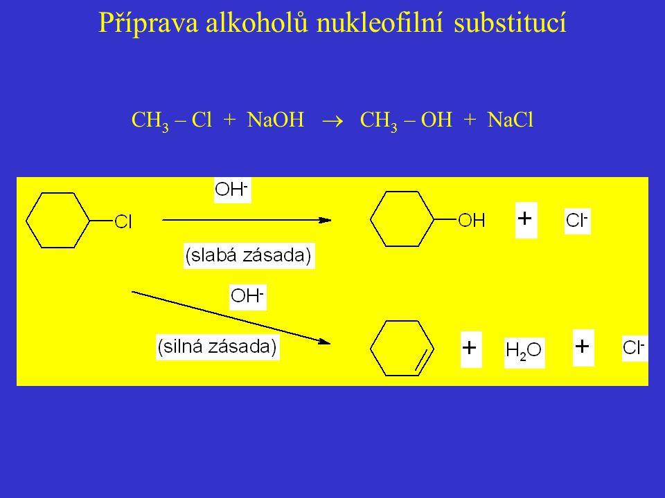Příprava alkoholů nukleofilní substitucí