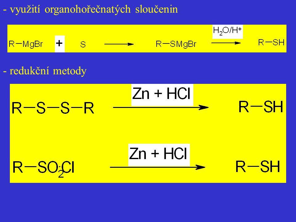 - využití organohořečnatých sloučenin
