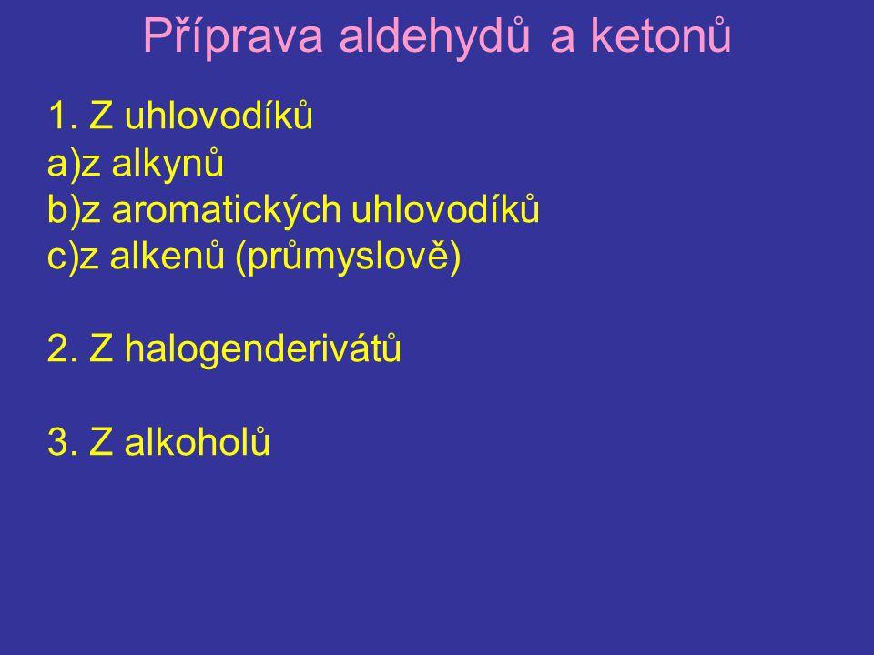 Příprava aldehydů a ketonů