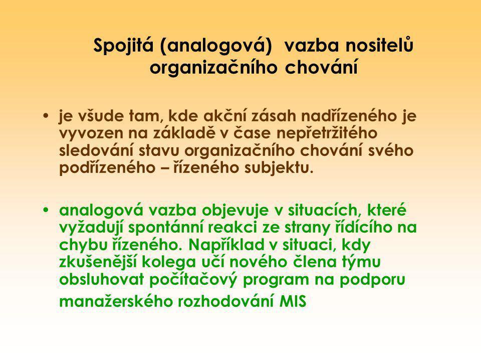 Spojitá (analogová) vazba nositelů organizačního chování