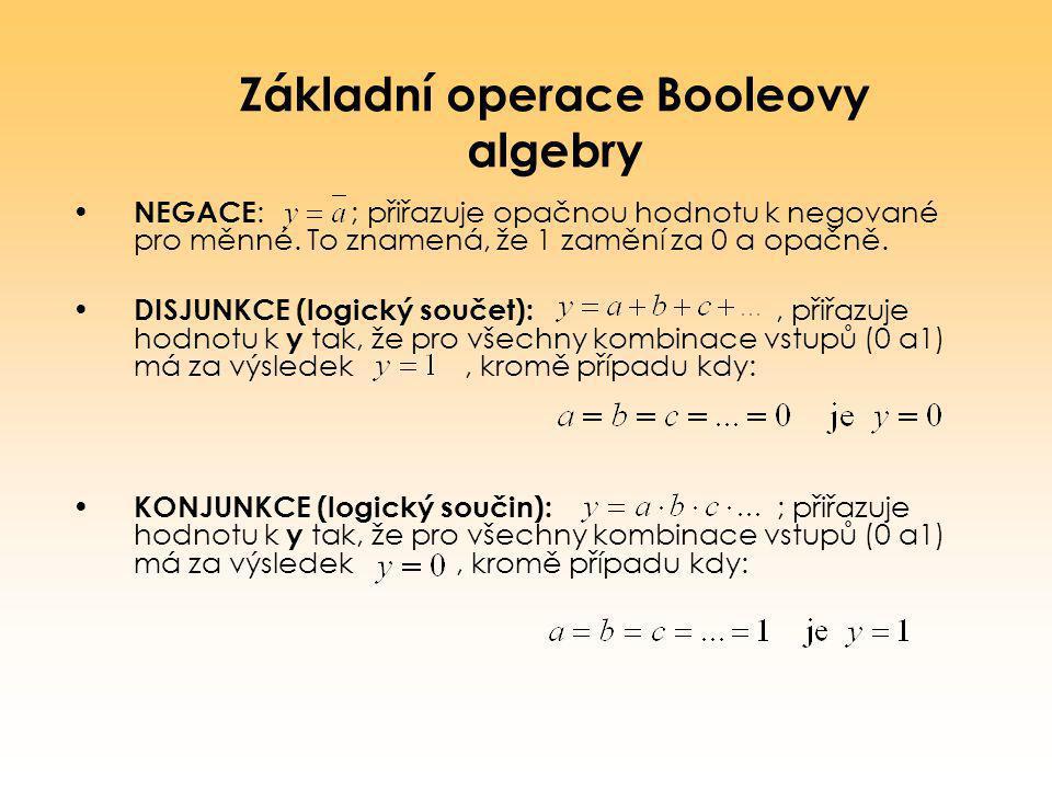 Základní operace Booleovy algebry