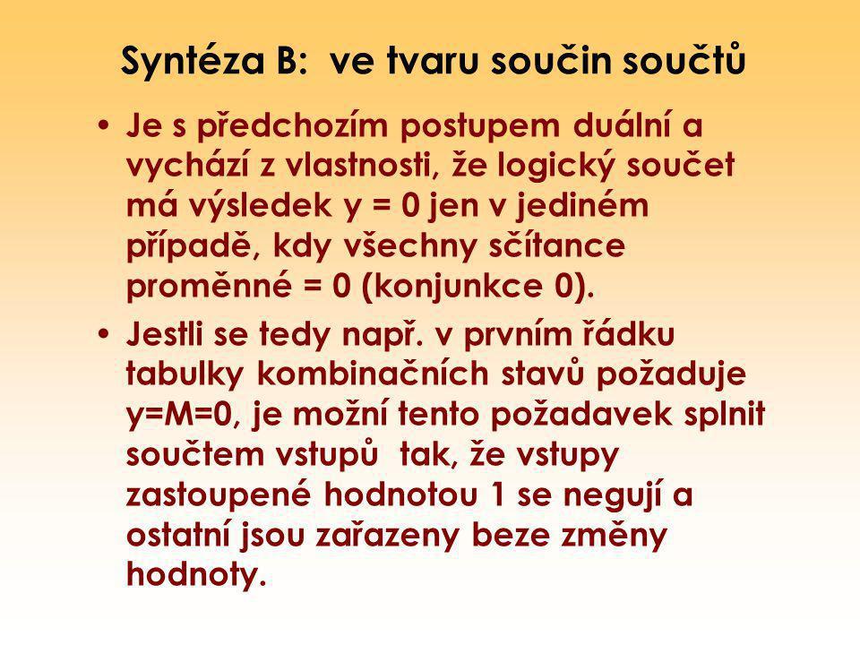 Syntéza B: ve tvaru součin součtů