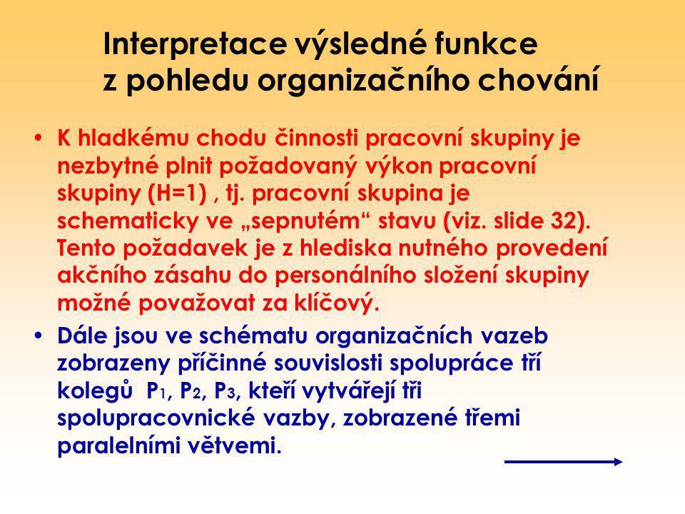 Interpretace výsledné funkce z pohledu organizačního chování