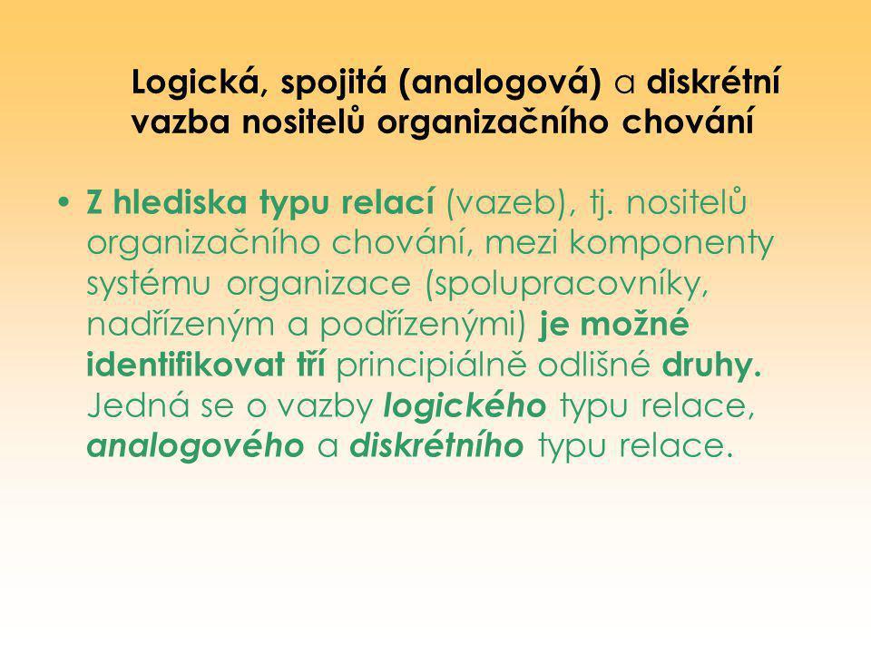 Logická, spojitá (analogová) a diskrétní vazba nositelů organizačního chování
