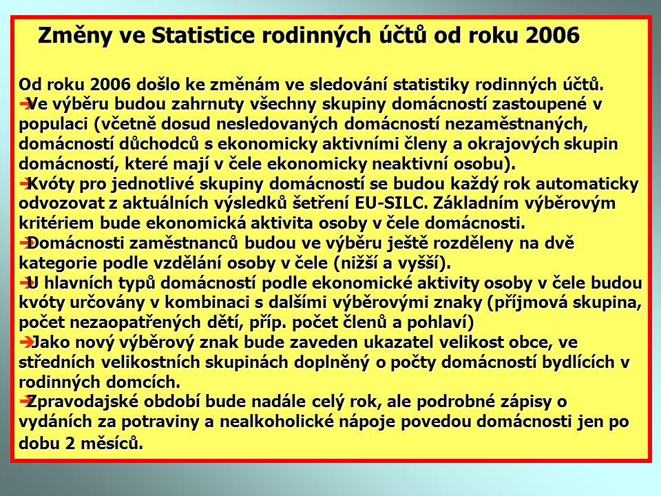 Změny ve Statistice rodinných účtů od roku 2006