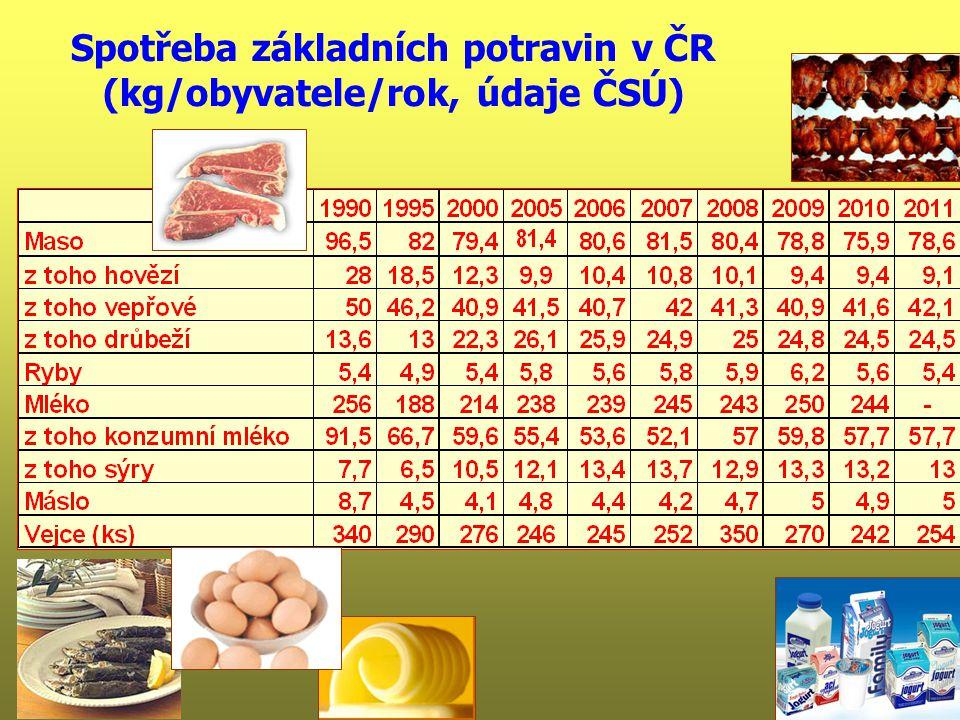Spotřeba základních potravin v ČR (kg/obyvatele/rok, údaje ČSÚ)