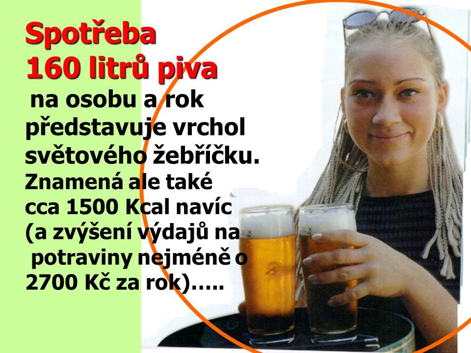 Spotřeba 160 litrů piva představuje vrchol světového žebříčku.