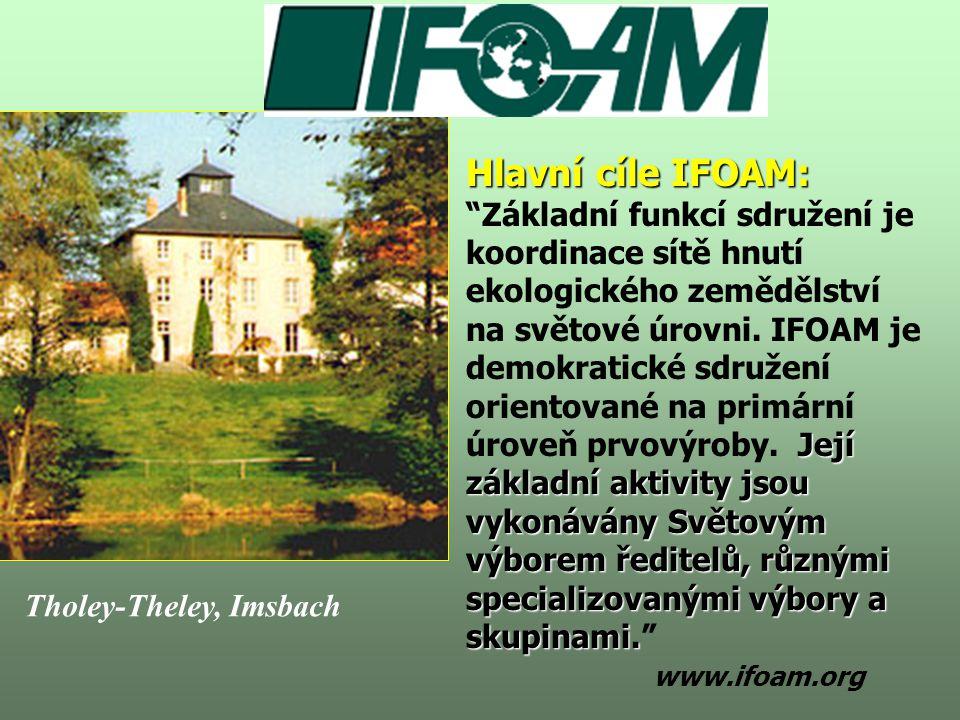 Hlavní cíle IFOAM: Základní funkcí sdružení je koordinace sítě hnutí ekologického zemědělství na světové úrovni. IFOAM je demokratické sdružení orientované na primární úroveň prvovýroby. Její základní aktivity jsou vykonávány Světovým výborem ředitelů, různými specializovanými výbory a skupinami. www.ifoam.org