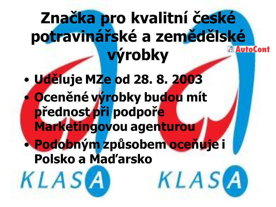 Značka pro kvalitní české potravinářské a zemědělské výrobky