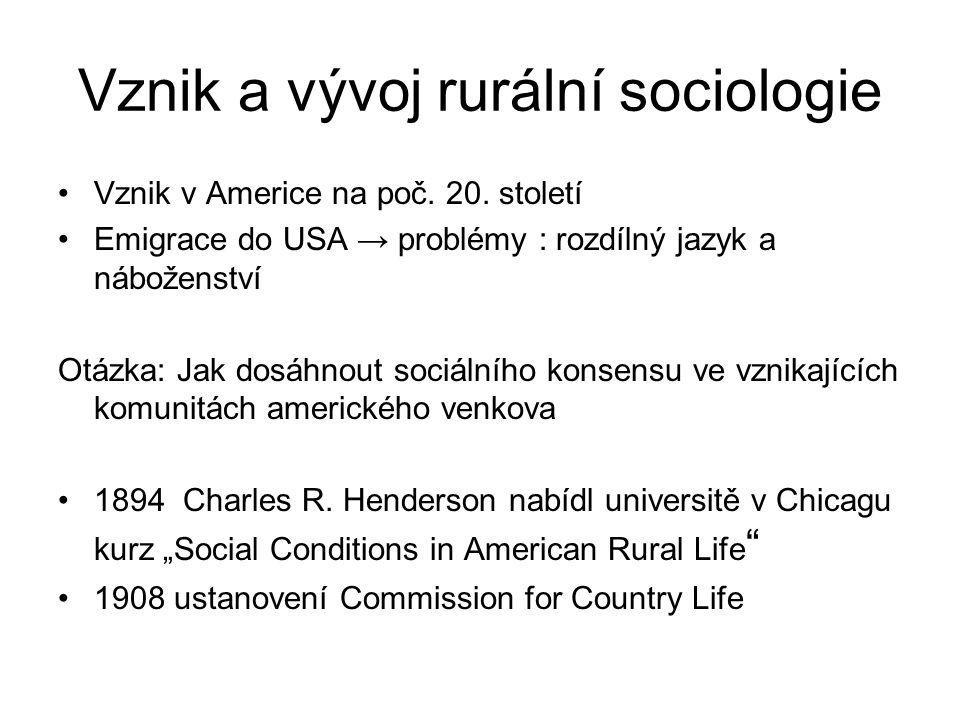 Vznik a vývoj rurální sociologie